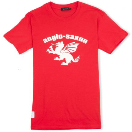 Anglo-Saxon White Dragon T-Shirt - Red